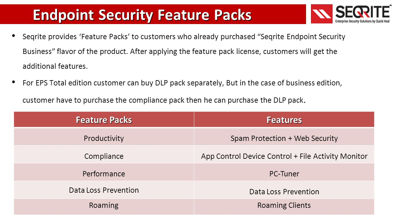Endpoint Security Feature Packs