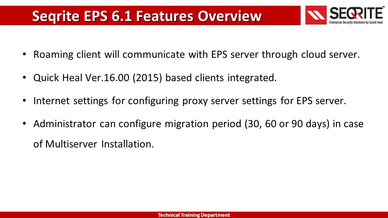 Seqrite EPS 6.1 Features Overview