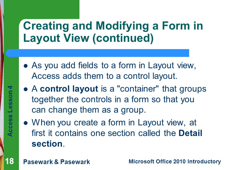 Access Lesson 4 Creating and Modifying Forms - ppt download