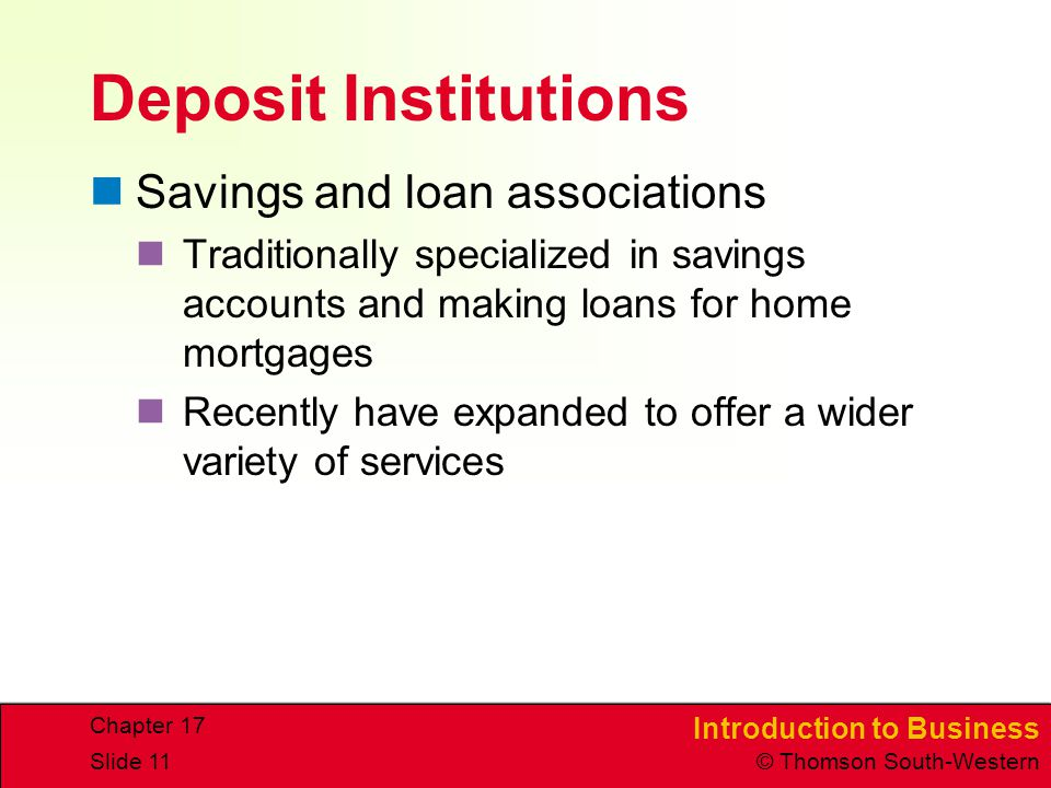 Deposit Institutions Savings and loan associations