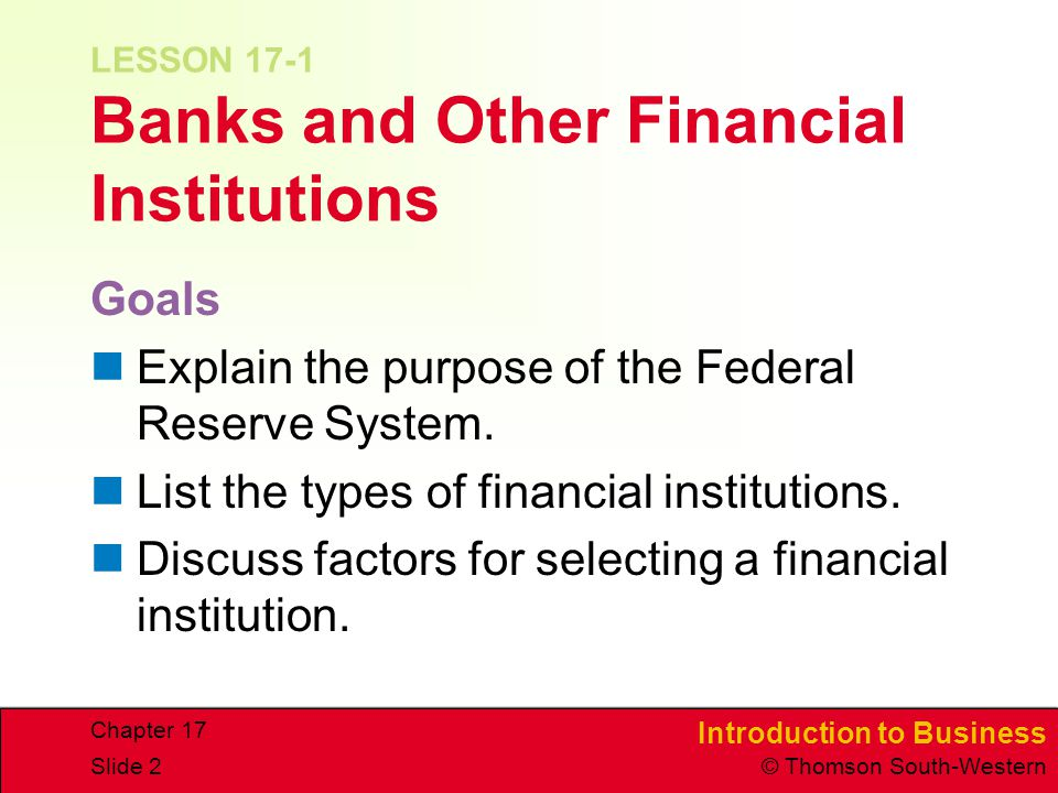 LESSON 17-1 Banks and Other Financial Institutions