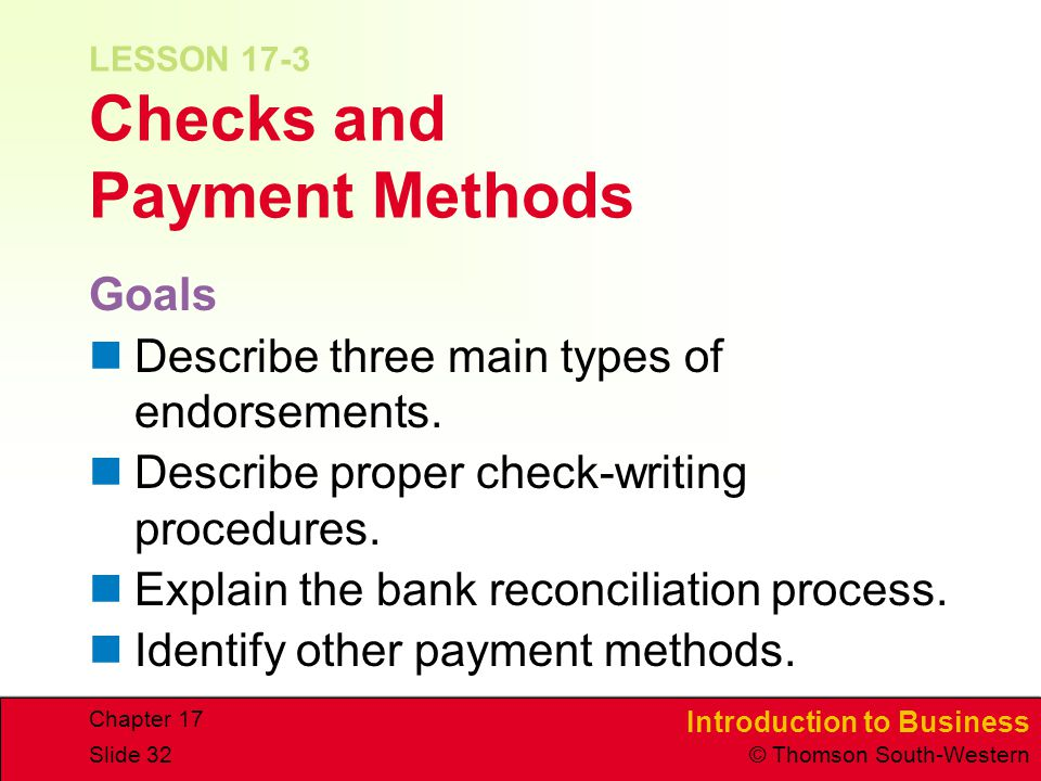 LESSON 17-3 Checks and Payment Methods