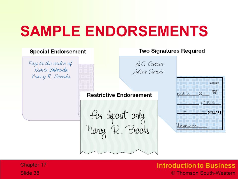 SAMPLE ENDORSEMENTS Chapter 17