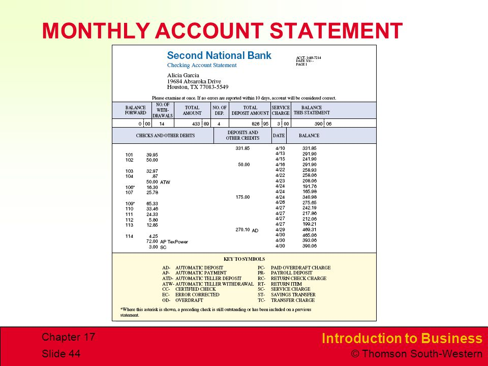 MONTHLY ACCOUNT STATEMENT