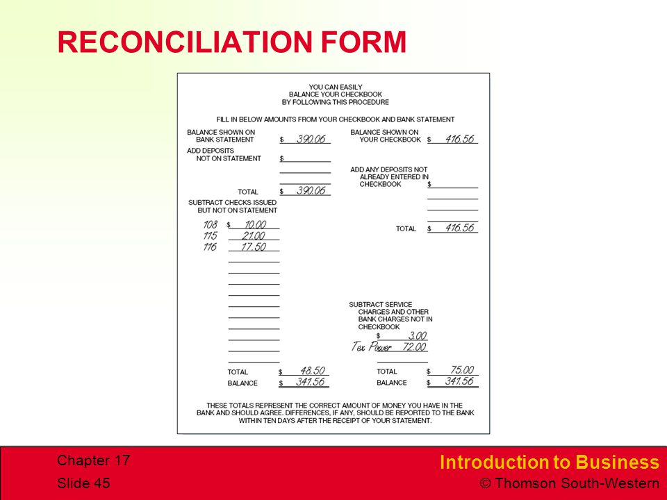 RECONCILIATION FORM Chapter 17