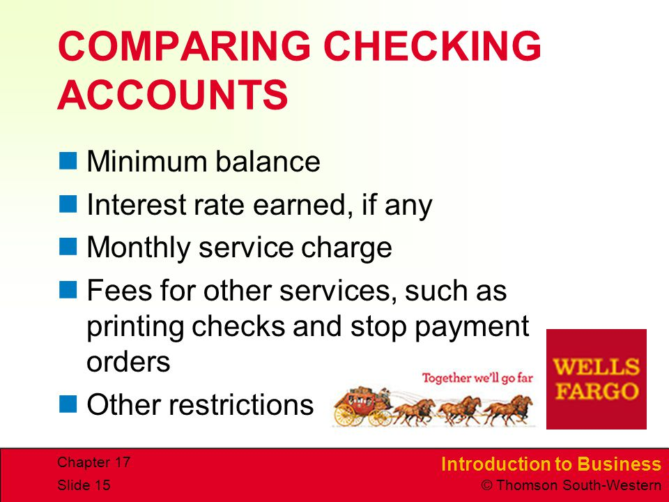 COMPARING CHECKING ACCOUNTS