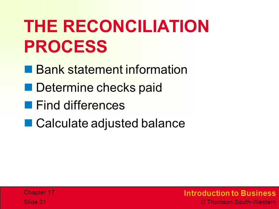 THE RECONCILIATION PROCESS