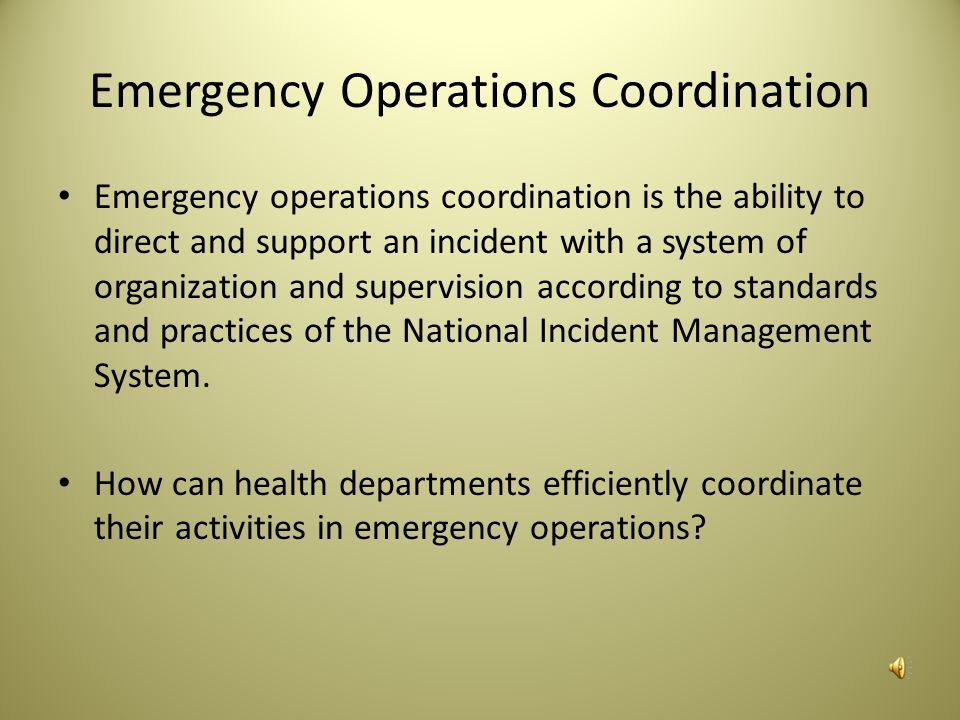 Emergency Operations Coordination