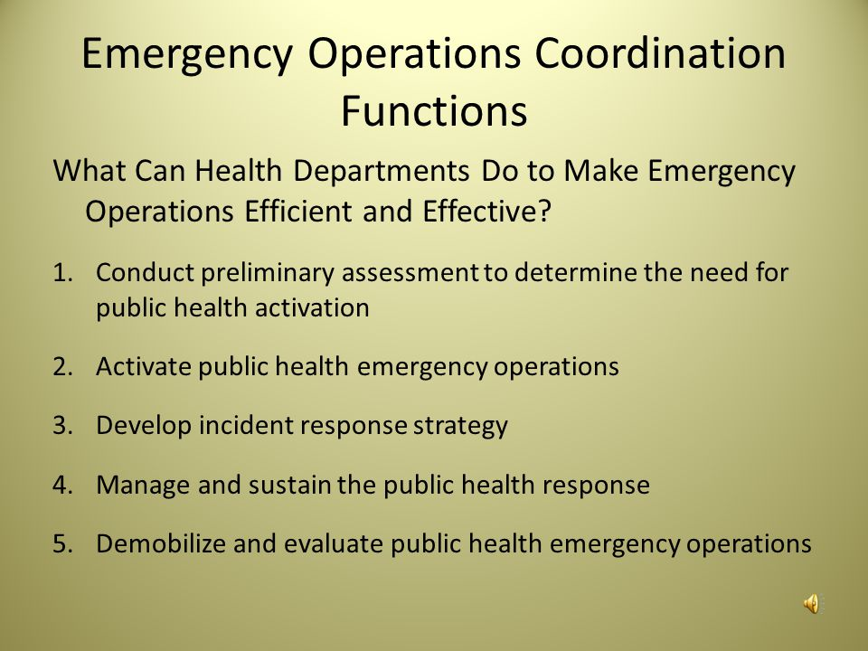 Emergency Operations Coordination Functions