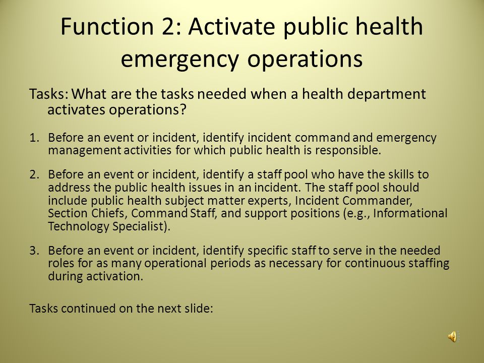 Function 2: Activate public health emergency operations