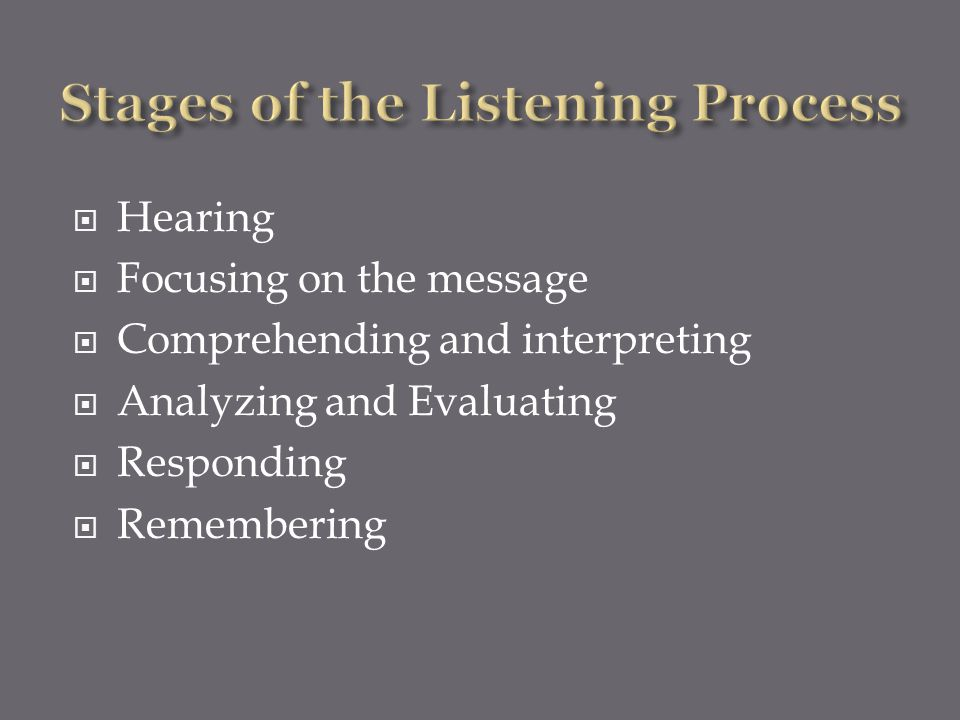 Stages of the Listening Process