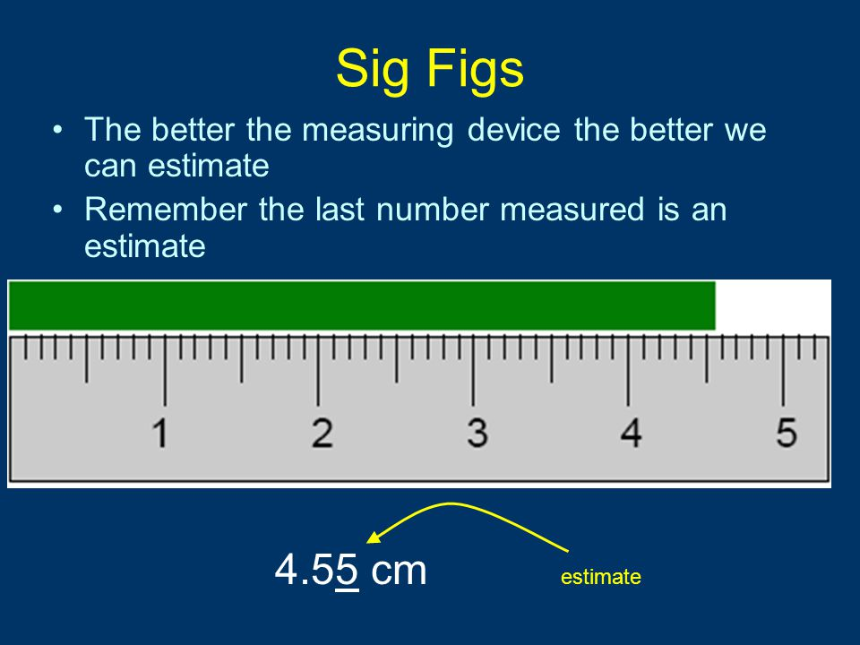 Sig Figs The better the measuring device the better we can estimate. Remember the last number measured is an estimate.