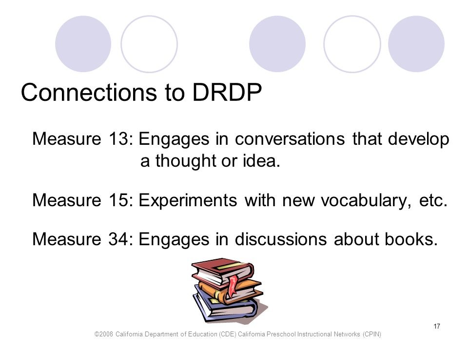 Connections to DRDP Measure 13: Engages in conversations that develop a thought or idea. Measure 15: Experiments with new vocabulary, etc.
