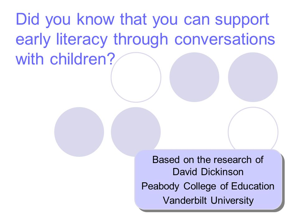 Did you know that you can support early literacy through conversations with children