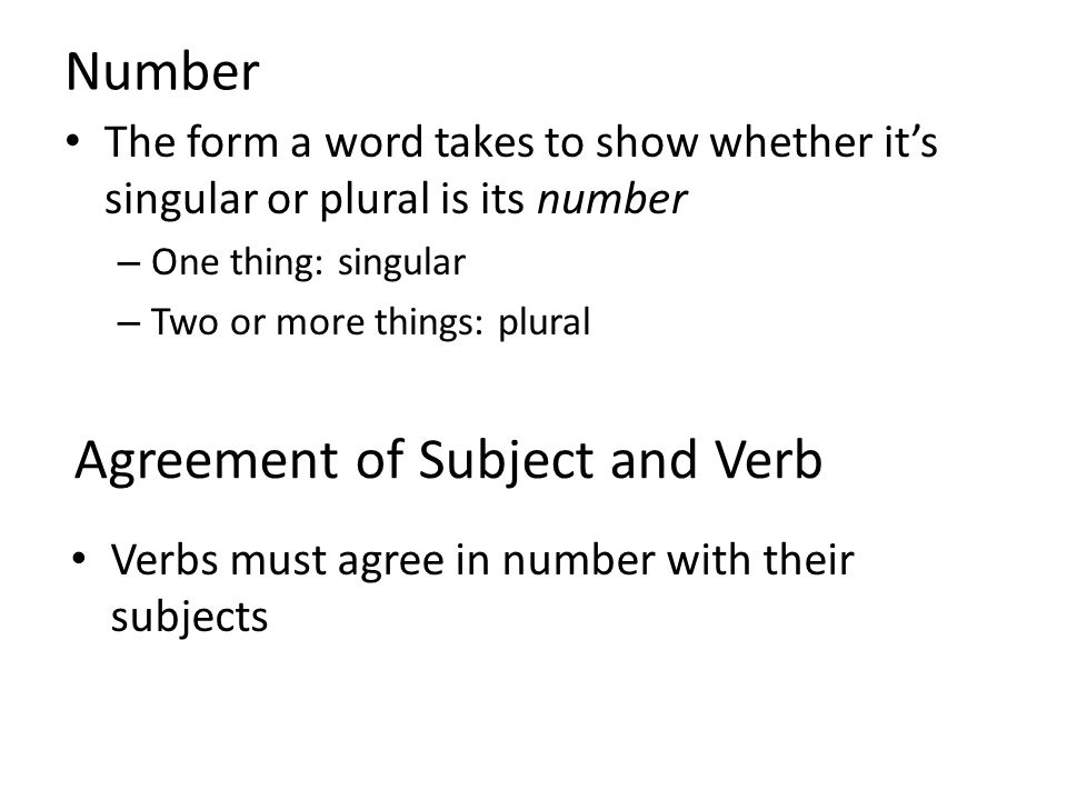 Chapter 8 Agreement Number Agreement Of Subject And Verb Ppt