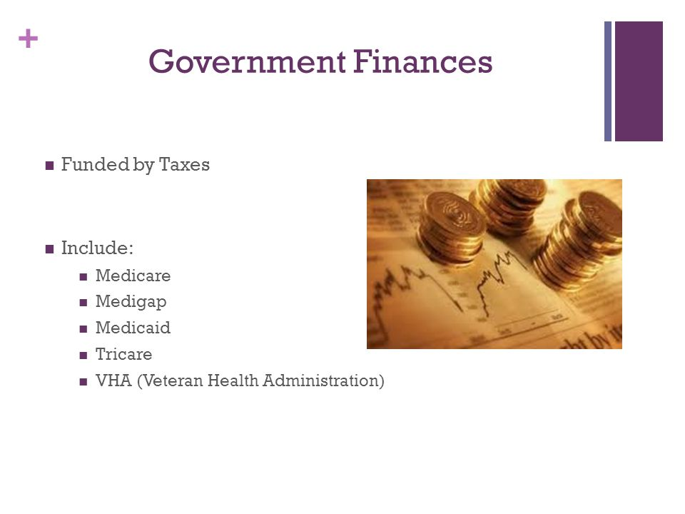 Government Finances Funded by Taxes Include: Medicare Medigap Medicaid