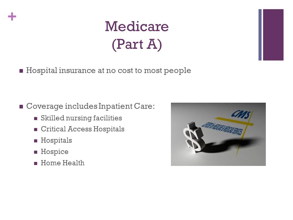Medicare (Part A) Hospital insurance at no cost to most people