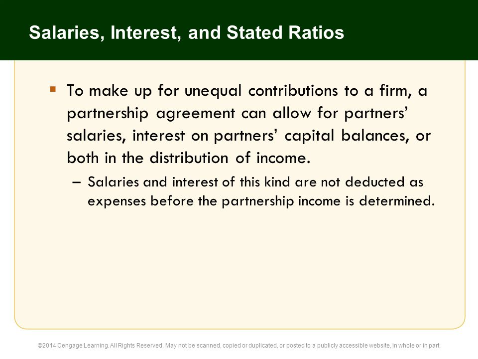 Salaries, Interest, and Stated Ratios