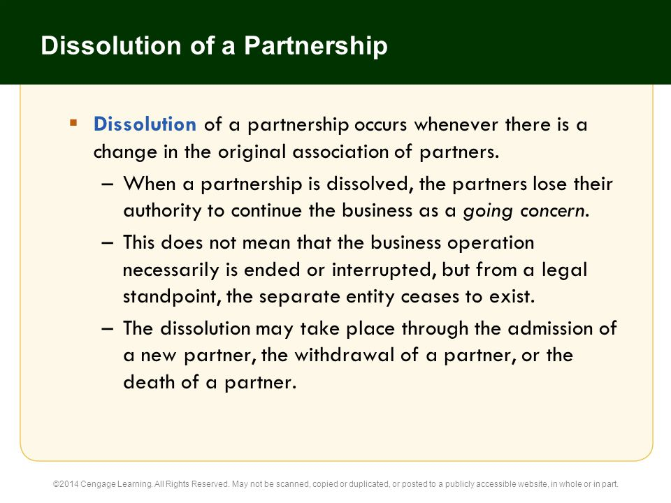 Dissolution of a Partnership