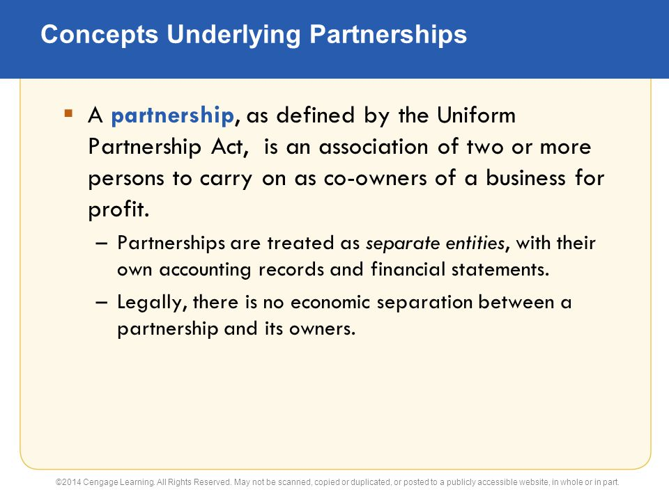 Concepts Underlying Partnerships