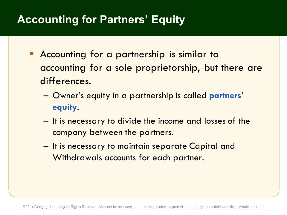 Accounting for Partners' Equity