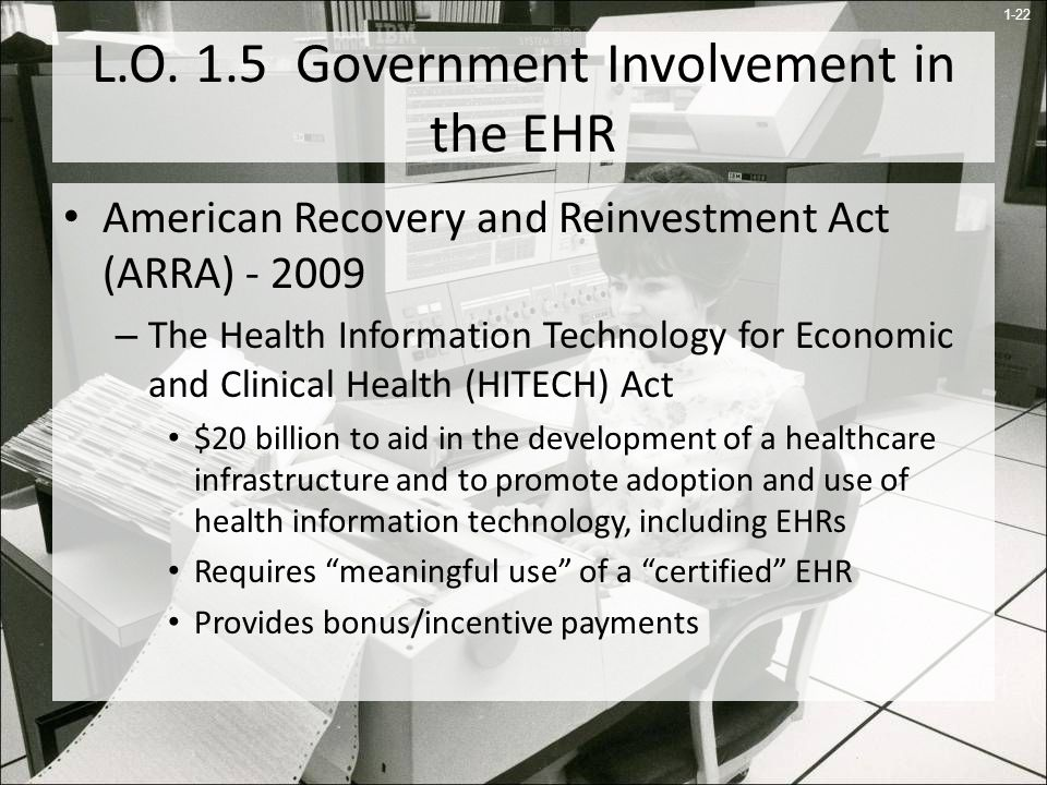 L.O. 1.5 Government Involvement in the EHR