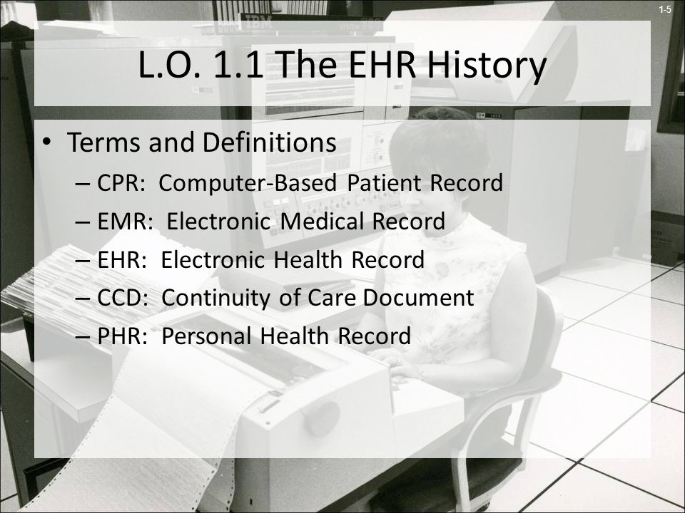 L.O. 1.1 The EHR History Terms and Definitions