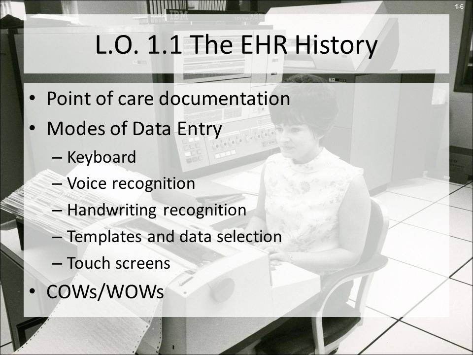 L.O. 1.1 The EHR History Point of care documentation