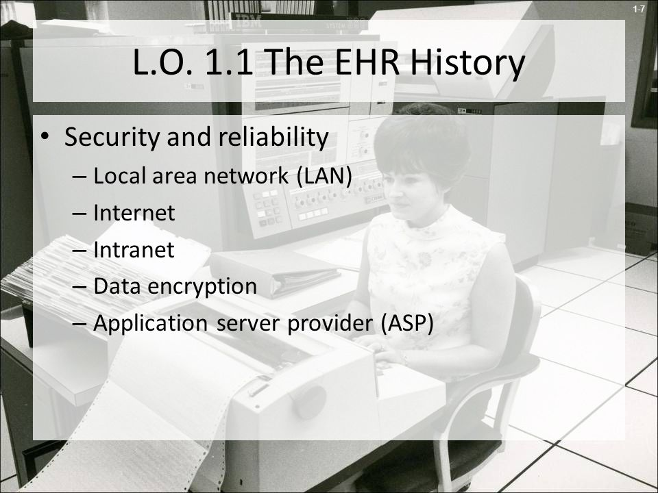 L.O. 1.1 The EHR History Security and reliability
