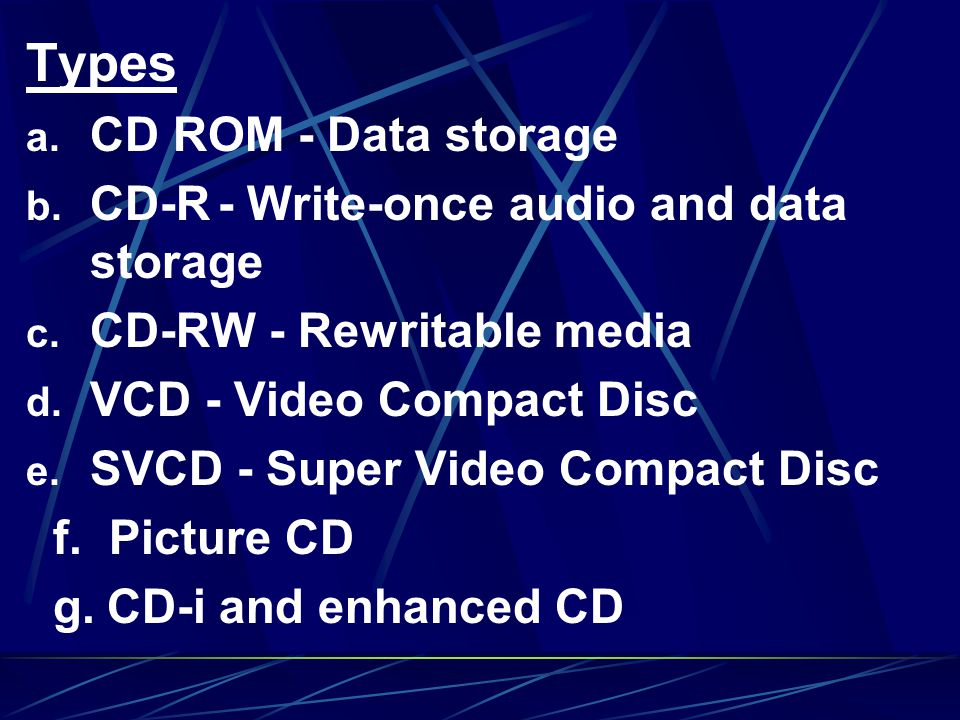 Types CD ROM - Data storage CD-R - Write-once audio and data storage