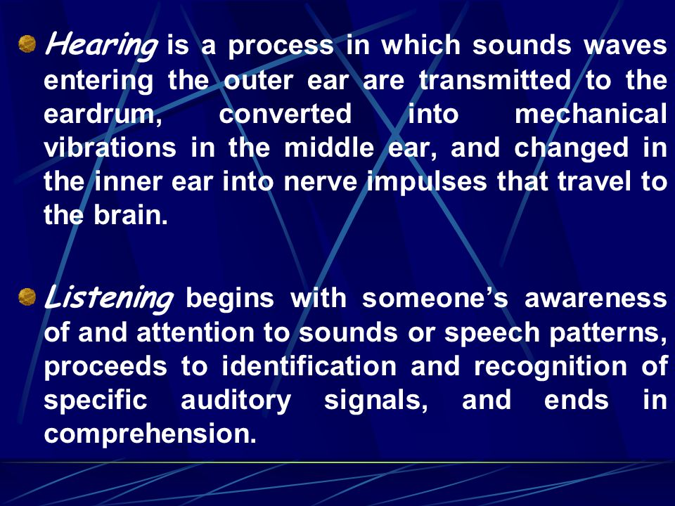 Hearing is a process in which sounds waves entering the outer ear are transmitted to the eardrum, converted into mechanical vibrations in the middle ear, and changed in the inner ear into nerve impulses that travel to the brain.