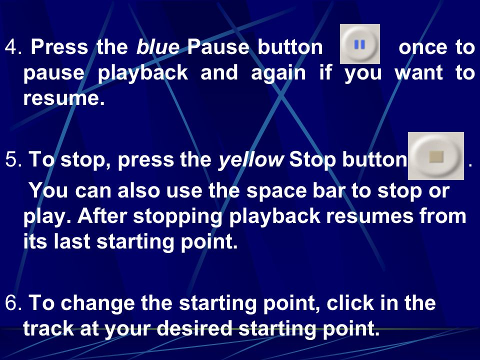 4. Press the blue Pause button once to pause playback and again if you want to resume.
