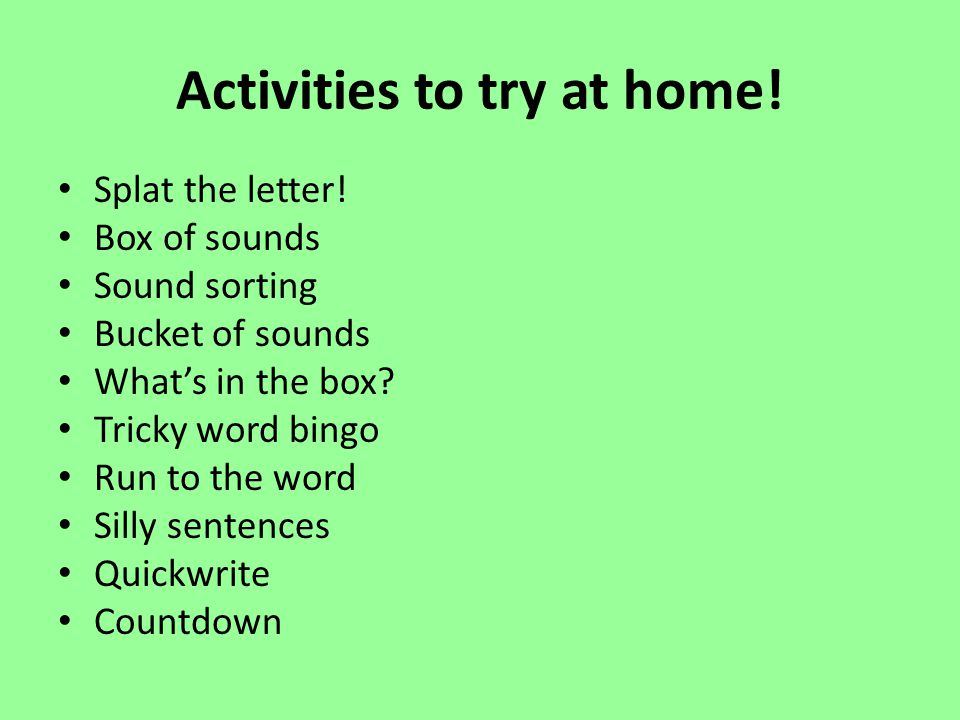 Activities to try at home!