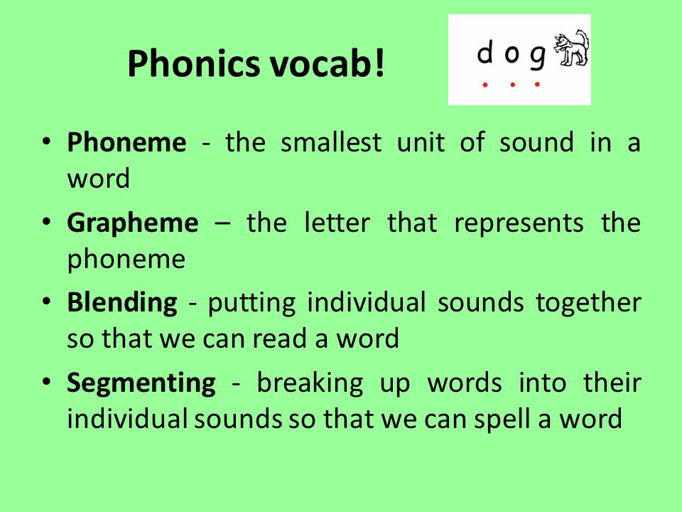 Phonics vocab! Phoneme - the smallest unit of sound in a word