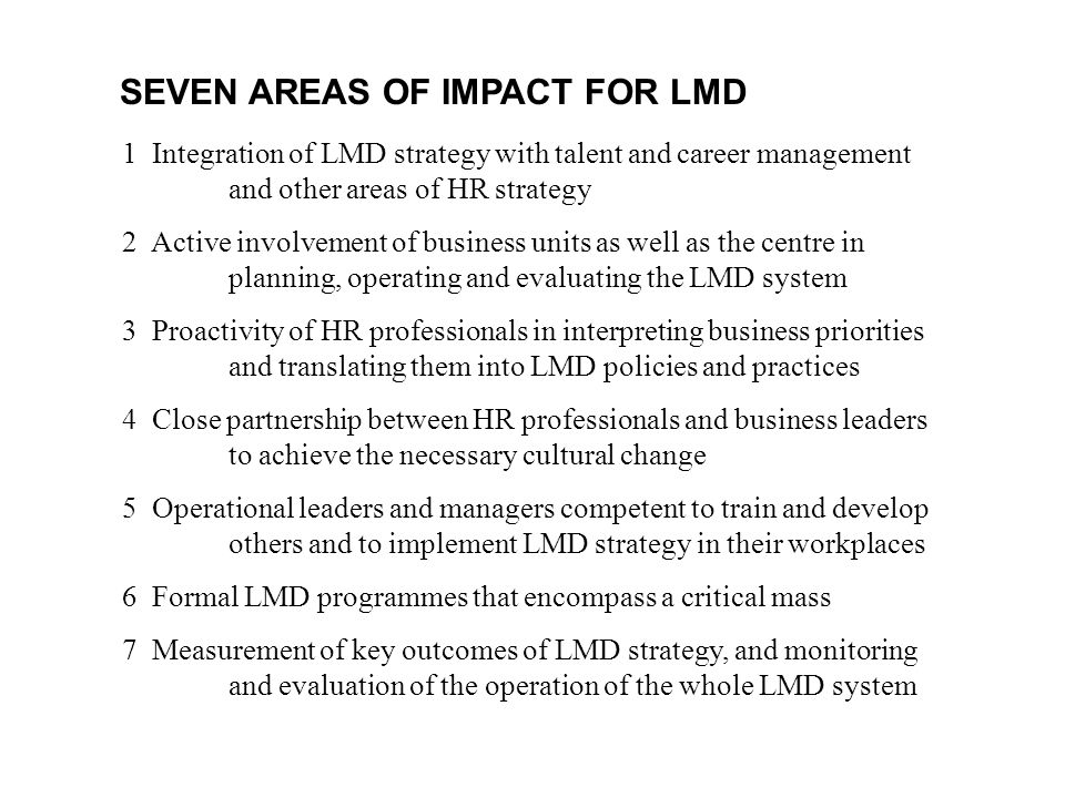 SEVEN AREAS OF IMPACT FOR LMD