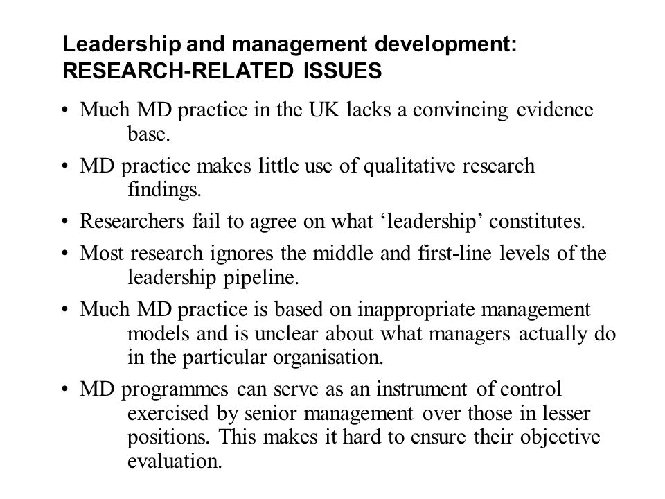 Leadership and management development: RESEARCH-RELATED ISSUES