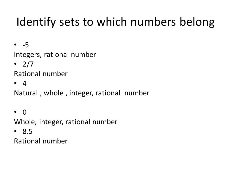 Identify sets to which numbers belong
