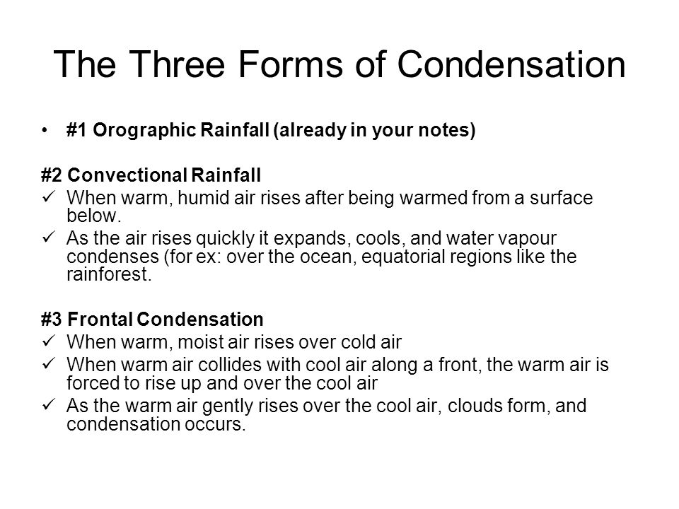 The Three Forms of Condensation