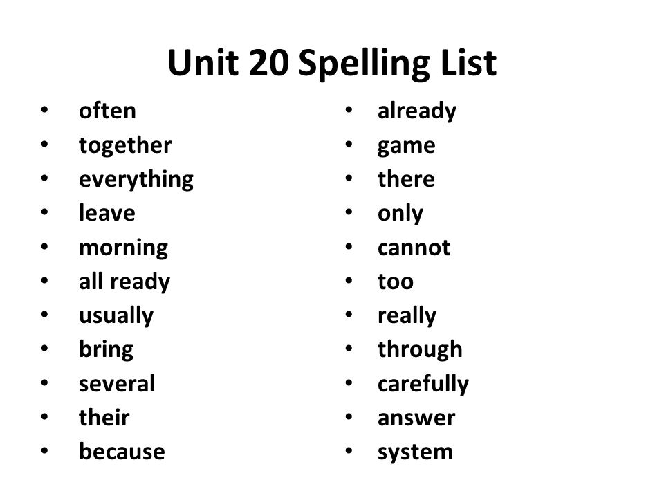 Spelling Lists  - ppt video online download