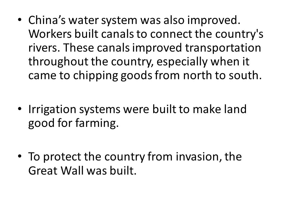 China's water system was also improved