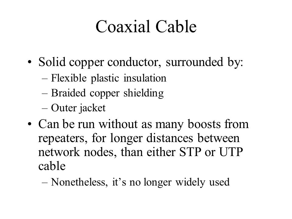 Coaxial Cable Solid copper conductor, surrounded by: