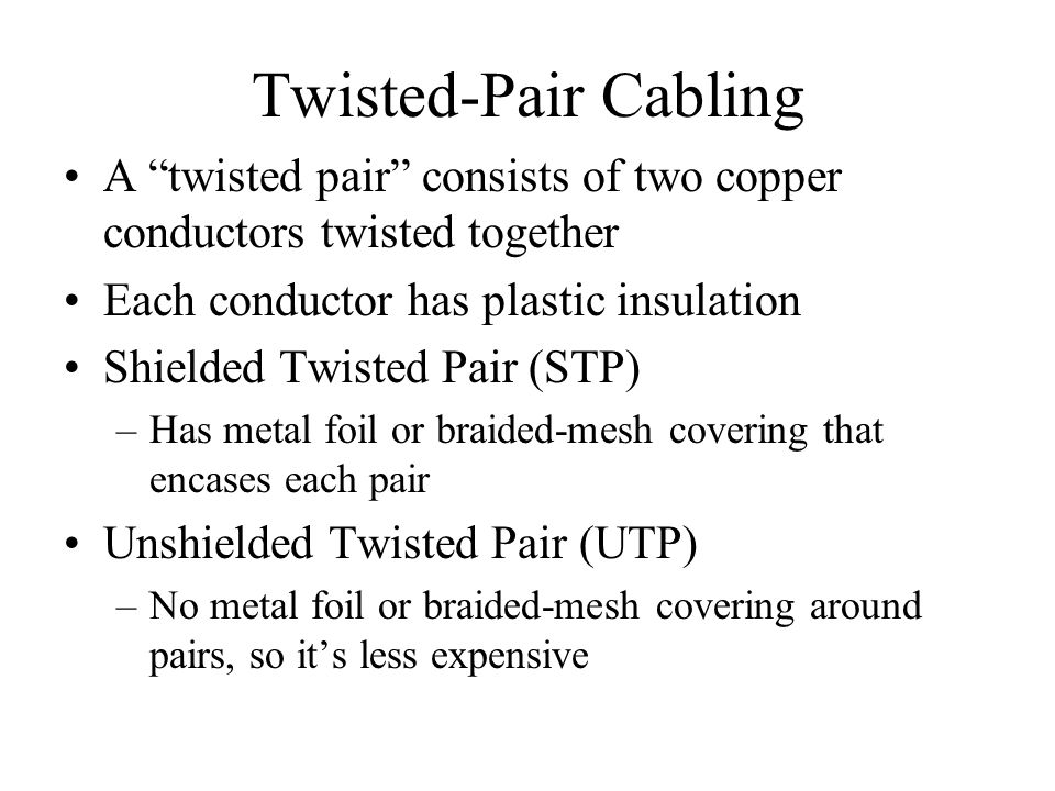 Twisted-Pair Cabling A twisted pair consists of two copper conductors twisted together. Each conductor has plastic insulation.