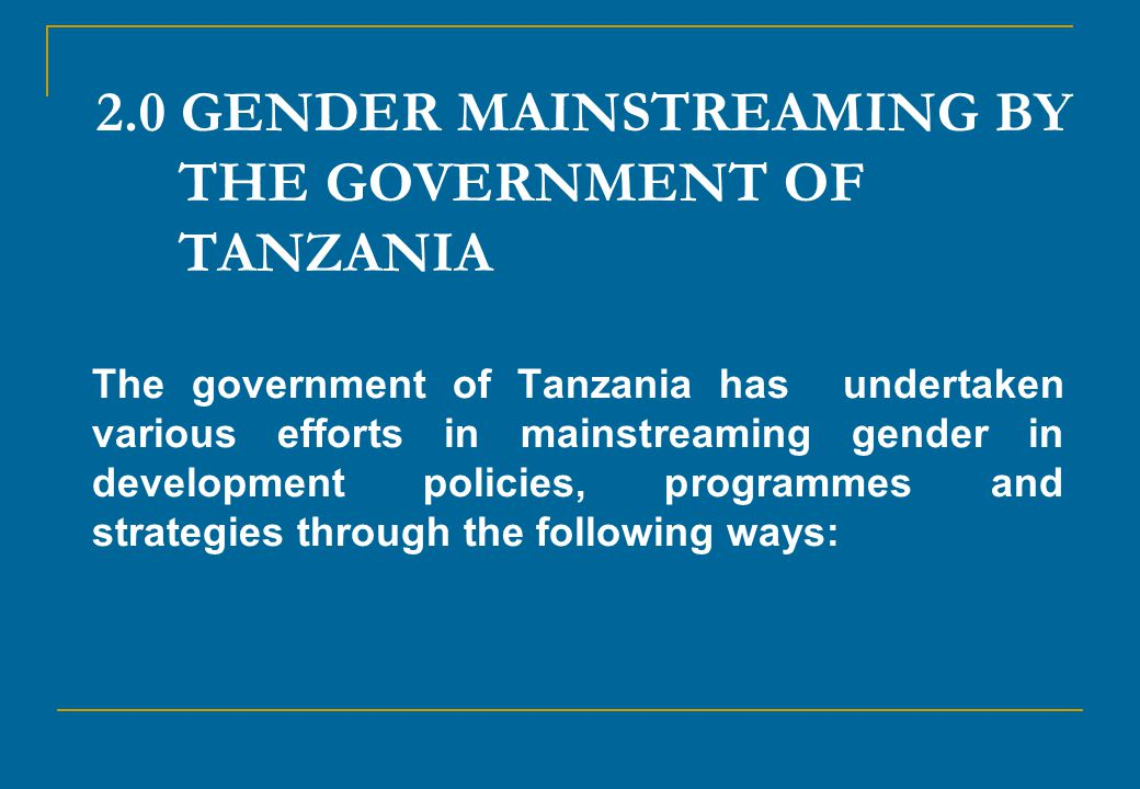 2.0 GENDER MAINSTREAMING BY THE GOVERNMENT OF TANZANIA