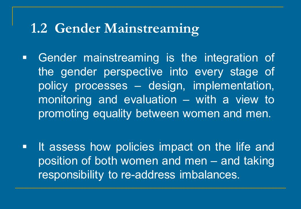 1.2 Gender Mainstreaming