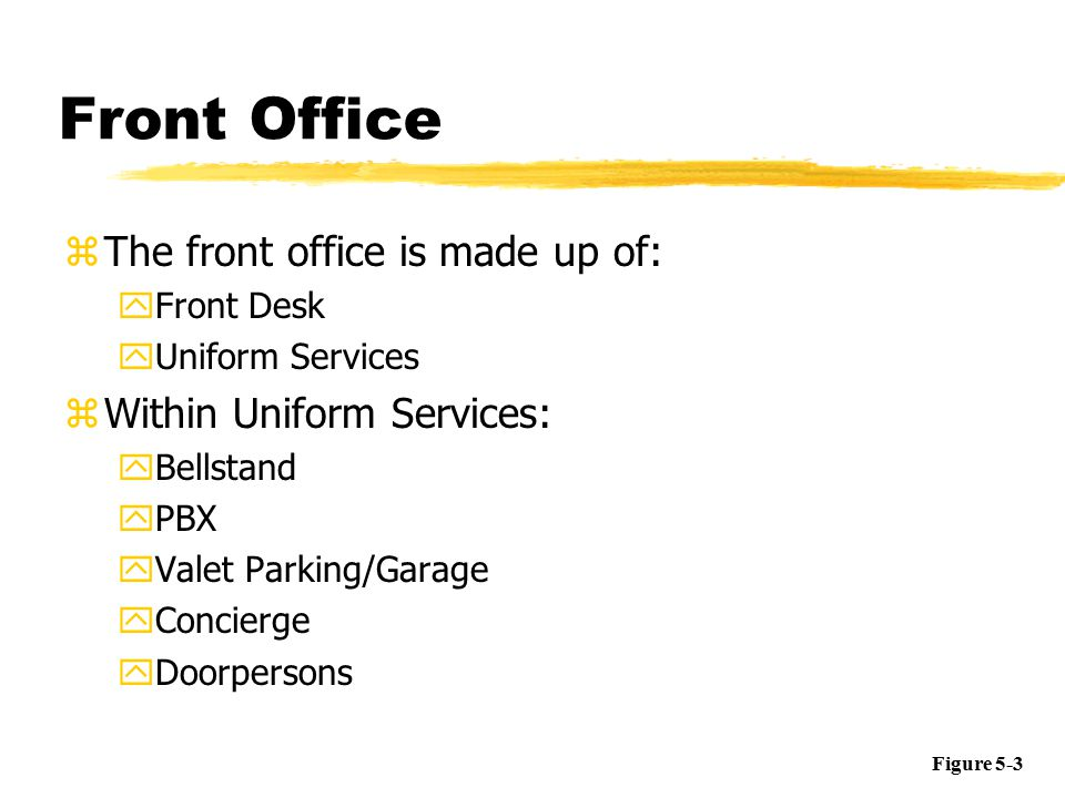 Summary Slide Rooms Division Front Office Housekeeping