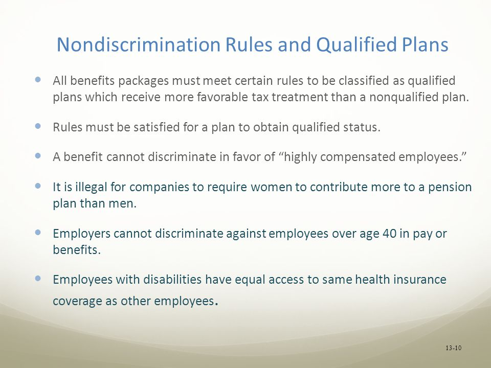 Nondiscrimination Rules and Qualified Plans