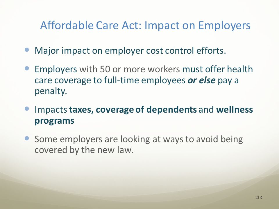 Affordable Care Act: Impact on Employers