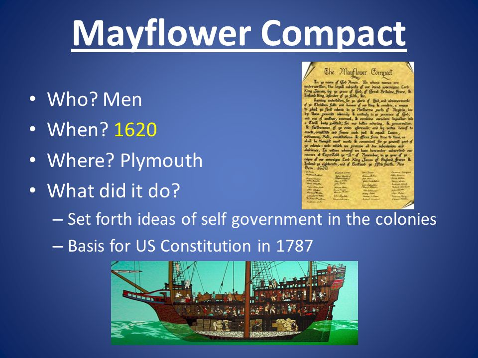 Mayflower Compact Who Men When 1620 Where Plymouth What did it do