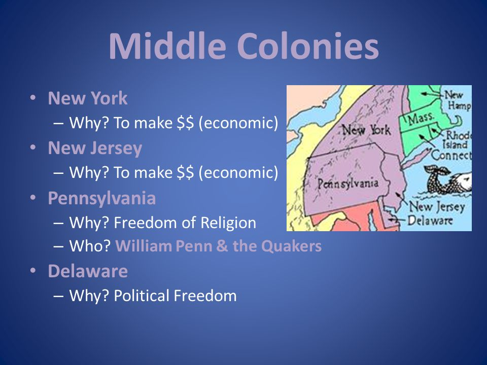 Middle Colonies New York New Jersey Pennsylvania Delaware