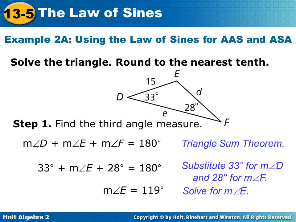 13-5 problem solving the law of sines